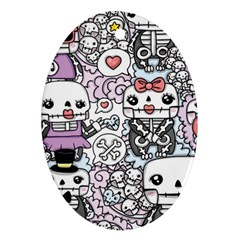 Kawaii Graffiti And Cute Doodles Oval Ornament (two Sides)