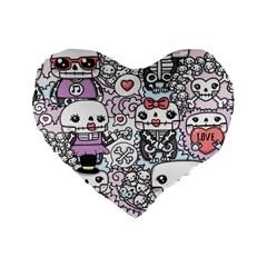 Kawaii Graffiti And Cute Doodles Standard 16  Premium Heart Shape Cushions by Nexatart