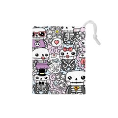 Kawaii Graffiti And Cute Doodles Drawstring Pouches (small)