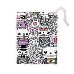 Kawaii Graffiti And Cute Doodles Drawstring Pouches (large)