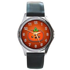 Simple Orange Pumpkin Cute Halloween Round Metal Watch by Nexatart