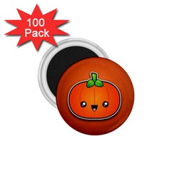 Simple Orange Pumpkin Cute Halloween 1 75  Magnets (100 Pack)