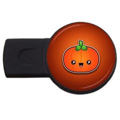 Simple Orange Pumpkin Cute Halloween Usb Flash Drive Round (2 Gb) by Nexatart