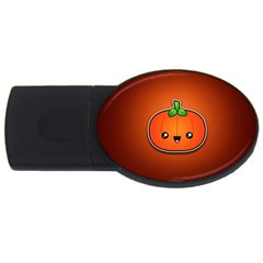 Simple Orange Pumpkin Cute Halloween Usb Flash Drive Oval (2 Gb)