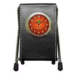 Simple Orange Pumpkin Cute Halloween Pen Holder Desk Clocks by Nexatart