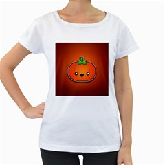 Simple Orange Pumpkin Cute Halloween Women s Loose Fit T Shirt (white)