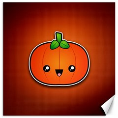 Simple Orange Pumpkin Cute Halloween Canvas 12  X 12   by Nexatart