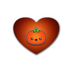 Simple Orange Pumpkin Cute Halloween Rubber Coaster (heart)  by Nexatart