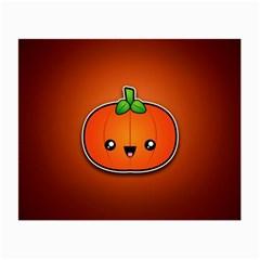 Simple Orange Pumpkin Cute Halloween Small Glasses Cloth (2 Side)
