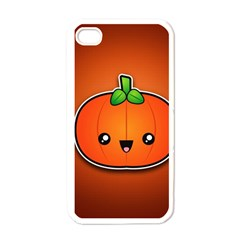 Simple Orange Pumpkin Cute Halloween Apple Iphone 4 Case (white) by Nexatart