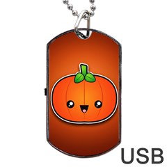 Simple Orange Pumpkin Cute Halloween Dog Tag Usb Flash (two Sides) by Nexatart