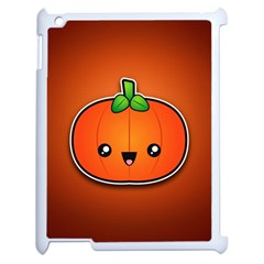 Simple Orange Pumpkin Cute Halloween Apple Ipad 2 Case (white) by Nexatart