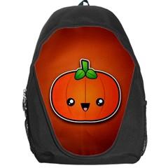 Simple Orange Pumpkin Cute Halloween Backpack Bag by Nexatart