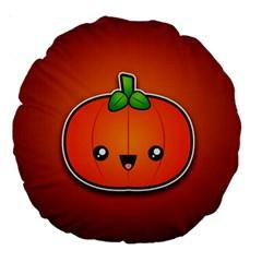 Simple Orange Pumpkin Cute Halloween Large 18  Premium Round Cushions
