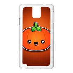 Simple Orange Pumpkin Cute Halloween Samsung Galaxy Note 3 N9005 Case (white) by Nexatart