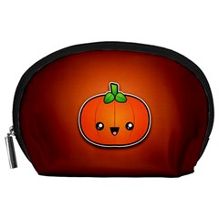 Simple Orange Pumpkin Cute Halloween Accessory Pouches (large)