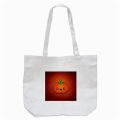 Simple Orange Pumpkin Cute Halloween Tote Bag (white)