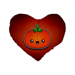 Simple Orange Pumpkin Cute Halloween Standard 16  Premium Flano Heart Shape Cushions by Nexatart