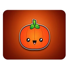 Simple Orange Pumpkin Cute Halloween Double Sided Flano Blanket (large)  by Nexatart