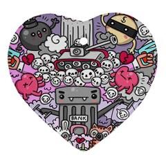 0 Sad War Kawaii Doodle Ornament (heart) by Nexatart