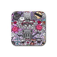 0 Sad War Kawaii Doodle Rubber Coaster (square)