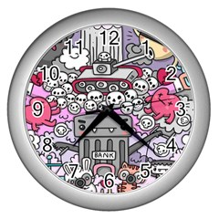 0 Sad War Kawaii Doodle Wall Clocks (silver)  by Nexatart