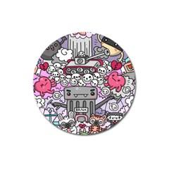 0 Sad War Kawaii Doodle Magnet 3  (round) by Nexatart