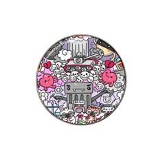 0 Sad War Kawaii Doodle Hat Clip Ball Marker (4 Pack) by Nexatart