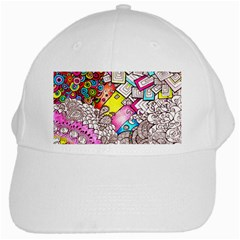 Beautiful Colorful Doodle White Cap by Nexatart