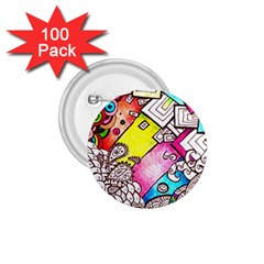 Beautiful Colorful Doodle 1 75  Buttons (100 Pack)