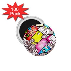 Beautiful Colorful Doodle 1 75  Magnets (100 Pack)  by Nexatart