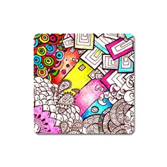 Beautiful Colorful Doodle Square Magnet by Nexatart