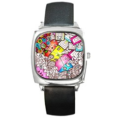 Beautiful Colorful Doodle Square Metal Watch