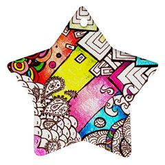 Beautiful Colorful Doodle Star Ornament (two Sides) by Nexatart