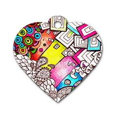 Beautiful Colorful Doodle Dog Tag Heart (two Sides) by Nexatart