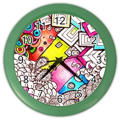 Beautiful Colorful Doodle Color Wall Clocks