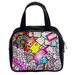 Beautiful Colorful Doodle Classic Handbags (2 Sides) by Nexatart