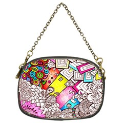 Beautiful Colorful Doodle Chain Purses (two Sides)  by Nexatart