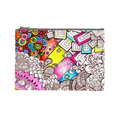 Beautiful Colorful Doodle Cosmetic Bag (large)