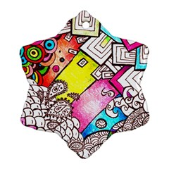 Beautiful Colorful Doodle Snowflake Ornament (two Sides) by Nexatart