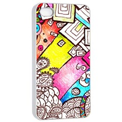 Beautiful Colorful Doodle Apple Iphone 4/4s Seamless Case (white)