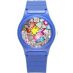 Beautiful Colorful Doodle Round Plastic Sport Watch (s)