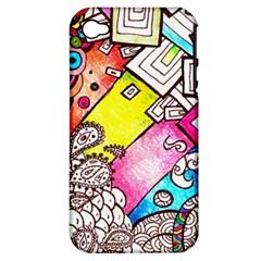 Beautiful Colorful Doodle Apple Iphone 4/4s Hardshell Case (pc+silicone)