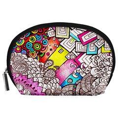 Beautiful Colorful Doodle Accessory Pouches (large)  by Nexatart