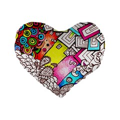Beautiful Colorful Doodle Standard 16  Premium Flano Heart Shape Cushions by Nexatart