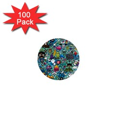 Colorful Drawings Pattern 1  Mini Magnets (100 Pack)