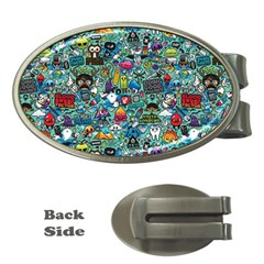 Colorful Drawings Pattern Money Clips (oval)  by Nexatart