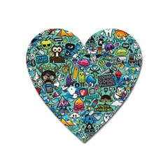 Colorful Drawings Pattern Heart Magnet by Nexatart