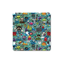 Colorful Drawings Pattern Square Magnet