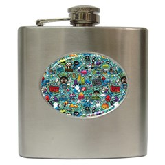 Colorful Drawings Pattern Hip Flask (6 Oz)